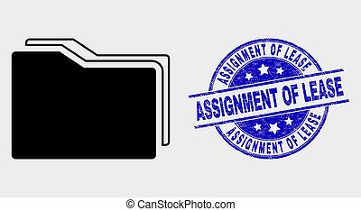 Vector Folders Icon and Distress Assignment of Lease Stamp