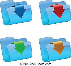 Vector folders with color arrow