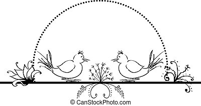 folk background with flowers and birds