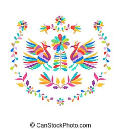 Vector folk Mexican Otomi Style embroidery Pattern eps 10
