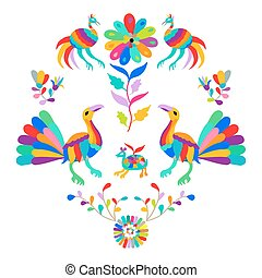 Vector folk Mexican Otomi Style embroidery Pattern. Folk embroidery ornament.