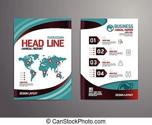 vector, folleto, aviador, revista, cubierta, folleto, cartel, diseño, template.layout, tecnología negocio, informe anual, a4, size.