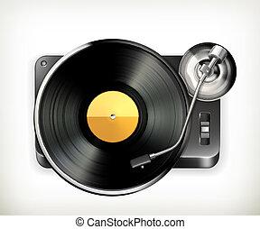 vector, fonógrafo, plato giratorio
