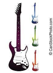 vector, fondo., blanco, conjunto, guitarras