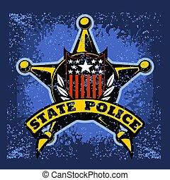 vector, fondo., grunge, etiqueta, policía, protector,...