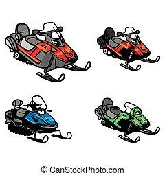 vector., fondo., snowmobile, isolato, inverno, bike., neve