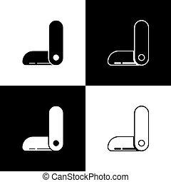 vector, fondo., tool., multifunctional, ejército, cuchillo, penknife., icono, conjunto, suizo, aislado, negro, multi-tool, multiuso, ilustración, blanco