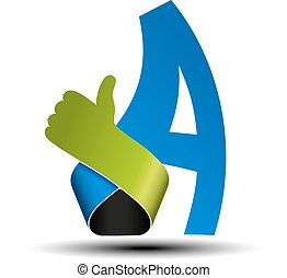 Vector font alphabet.  Letter A with best choice symbol. Hand gesture label.