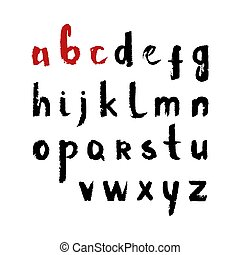 Vector font, hand drawn letters with smooth acrylic brush style edges