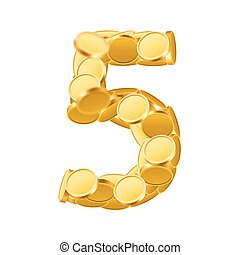 Vector font style made of golden coins. Coin numbers. Number 5. Five.