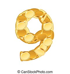 Vector font style made of golden coins. Coin numbers. Number 9. Nine.