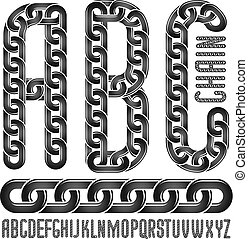 Vector font, trendy typescript can be used in poster creation. Upper case creative letters, abc made with steel chain link, joined link.