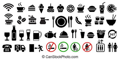 Vector food and drink icons set.