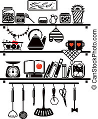 Vector food and drinks icons set, drawn up as kitchen shelves