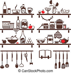 Vector food and drinks icons set, drawn up as kitchen...