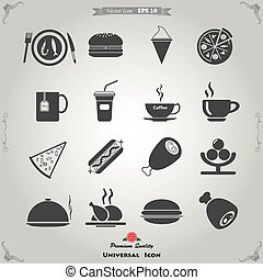 Vector Food and Kitchen Icons Set for Web