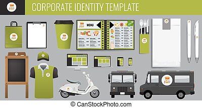 Vector food corporate identity template design set. Branding...