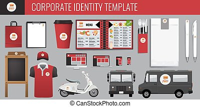 Vector food corporate identity template design set. Red and black color Branding vector mock up for your design.