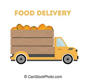 Vector food delivery - shipping of garden products - pumpkins. Car, truck