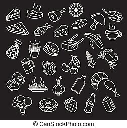 Vector food menu elements icon set