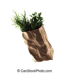 vector food paper grocery bag
