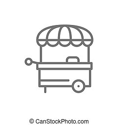 Vector food stall, street market line icon.