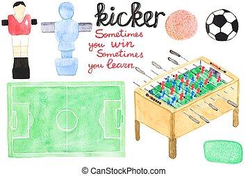 vector, foosball, acuarela, elementos, conjunto, pateador, o...