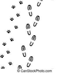 foot prints - vector foot prints of man and dog