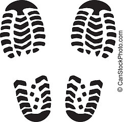 vector illustration of man's foot prints