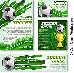 Vector football cup soccer team banner posters - Soccer game...
