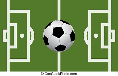 Vector football field with a soccer ball