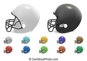 Vector football helmets set