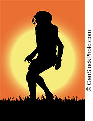 Vector football player silhouette