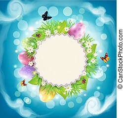 Vector for Easter with a round card for text, eggs, grass and flowers around on a background of blue sky and clouds