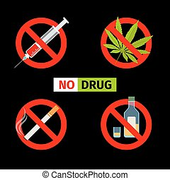 Vector forbidding signs. No Drugs and No Cannabis, No...