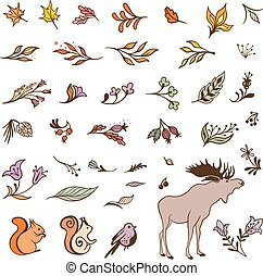 Vector Forest Fall Elements Set