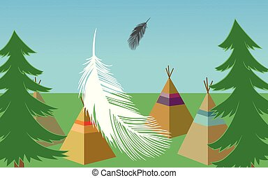 vector Forest landscape with green pines, wigwams, feathers rect
