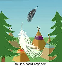 vector Forest landscape with green pines, wigwams, feathers squa