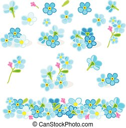 vector forget-me-not flowers set