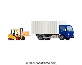 Vector forklift loading truck.