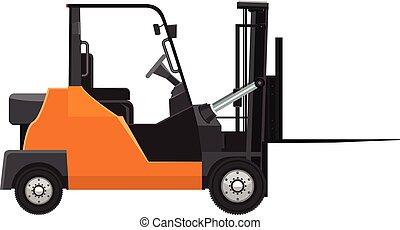 Vector Forklift mock up side view. Solid and flat color design.