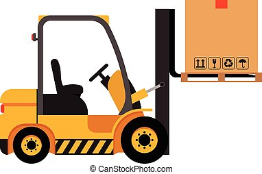 Vector forklift truck with lifted cardboard box