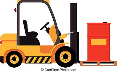 Vector forklift truck with lifted red barrel