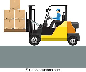 Vector Forklift with its driver man mock up side view. Solid and flat color design.