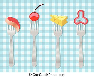 Vector forks with food