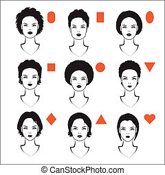 types of face shape - vector forms of womens head, types of...