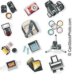vector, fotografie, uitrusting, iconen