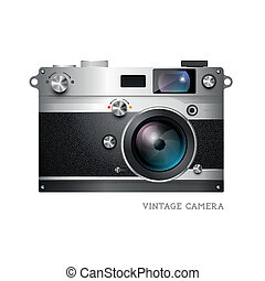 vector, fototoestel, realistisch, ouderwetse