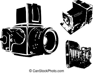 vector, fototoestel, set