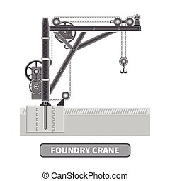 Vector foundry crane in flat style